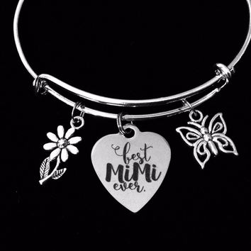 Best Mimi Ever Expandable Charm Bracelet Adjustable Silver Bangle Meaningful One Size Fits All Gift Grandmother Butterfly Daisy