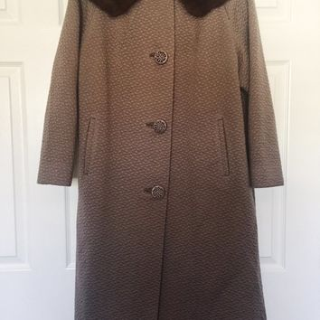 Vintage Coat, Hockanum 1960's Wool Coat, Mink Collar, Fully Lined, Vintage Clothing, Vintage Outerwear, (See Note Re Color & Size)