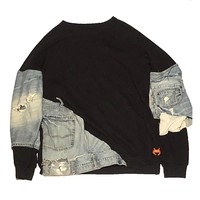 16Sixteen - Cotton\Denim Crewneck - Black