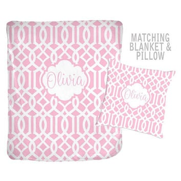 Pink Monogram Blanket - Trellis Personalized Blanket-Baby Girl Name Blanket - Baby Girl Shower Gift - Swaddle Blanket Pillow Set-Baby Pillow