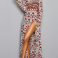 Floral Pattern V-neck Split Hem Maxi Dress from mobile - US$25.95 -YOINS