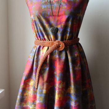 Batik Tie Dye Longer Length Cotton Boho Dress / Handmade/ Choose Your Size