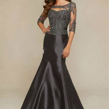 Half Sleeve Prom Dress,Black Prom Dresses,Long Evening Dress