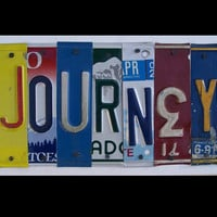 Funky JOURNEY license plate sign Keepin it green by recycledartco