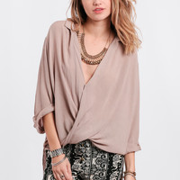 Top Floor Draped High-Low Blouse