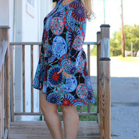 Give It A Spin Circle Print Dress With Pockets ~ Blue ~ Sizes 12-18
