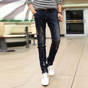 Men's Four Seasons Broken Hole Patch Worn Cotton Jeans Male Fashion Straight Softener Full Length Pants