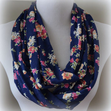 Navy Floral Infinity Scarf