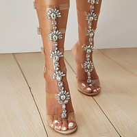 Fashionable Sexy Open-toed Water Diamond High-heeled Thin-heeled Transparent Belt Sandals