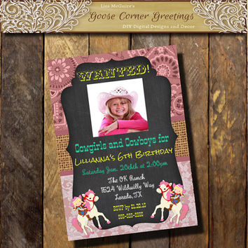 Cowgirl Birthday invitation 1st 2nd 3rd 4th 5th Cowgirl  Pink Teal Burlap Chalkboard Lace any color Baby Shower Bridal Bandana