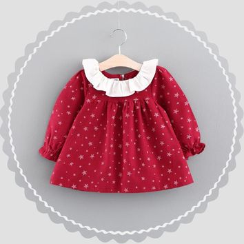 WYNNE GADIS Autumn Baby Girls Star Print Long Sleeve Cotton Princess Tutu Kids Infant Party Dress vestido infantil