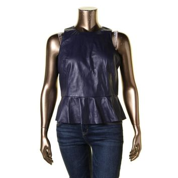 Lauren Ralph Lauren Womens Leather Sleeveless Peplum Top