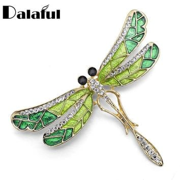 Unique Cute Dragonfly Brooch Pin Enamel Crystal Rhinestone Lovely Jewelry For Women Gift Brooches Z022