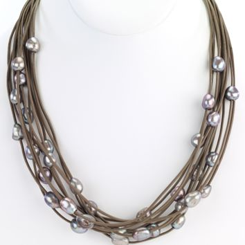 Multi-Row Leather Necklace with Pearls