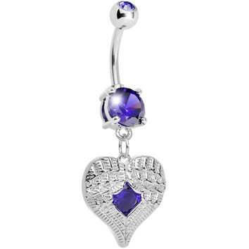 Tanzanite Gem Feathered Heart Dangle Belly Ring