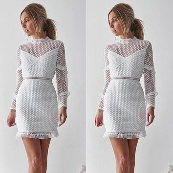 Hollow Out Transparent Long Sleeves Women Short Dress