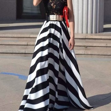 Lace Paneled Black and White Stripe Maxi Dress