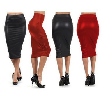 New 2015 PU Leather Elastic High Waist Office Party Wear Vintage Bodycon Pencil Skirt Knee Length Sexy Women Empire Skirt