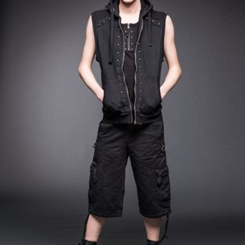 Black vest with studs and hood | Vests | Jackets | Men | Queen Of Darkness