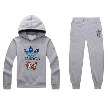 One-nice™ ADIDAS Women Men Top Sweater Pullover Hoodie Pants Trousers Set Two-Piece
