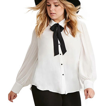 Plus Size White Tie Collar Cuff Sleeve Blouse