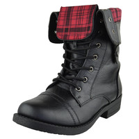 Womens Mid Calf Boots Fold Over Cuff Lace Up Combat Shoes Black