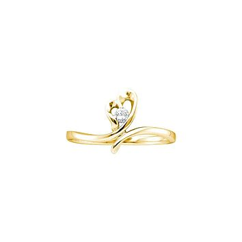 14kt Yellow Gold Womens Round Diamond Heart Love Promise Bridal Ring 1/20 Cttw