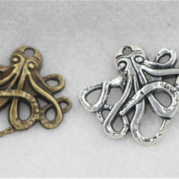 8/30/150pcs Tibetan Silver Lovely Octopus Jewelry Finding Charms Pendant 20x23mm