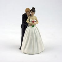 "Wedding Cake Decoration ""Yes to the Rose"" Custom Bride & Groom Couple Figurine Wedding Cake Topper"