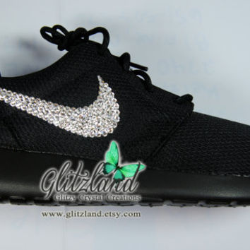 Blinged Black Women's Nike Roshe Run