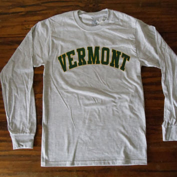 Vermont Long Sleeve Shirt - Ash Gray with Green & Gold Arch - UVM University of Vermont  Burlington Shirt - Vermont Shirt - VT Long Sleeve