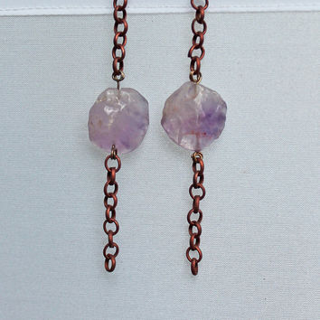 Earrings: Amethyst Buttons and Copper Chain Dangles