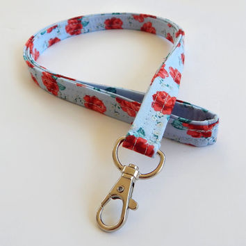 Rose Lanyard / Flower Keychain / Pretty Floral Print / Key Lanyard / ID Badge Holder / Roses / Red Rose Lanyard / Teacher Lanyard