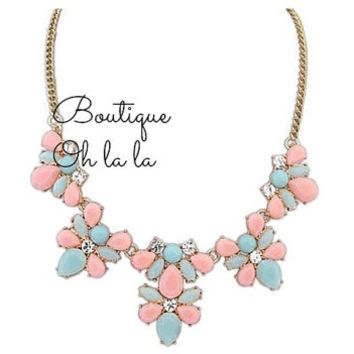Lovely statement necklace, bib necklaces, light blue and pink, Womens jewelry, pastel colors, green drops, flowers, bubble necklace, fashion
