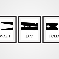 Laundry Room Wall Art Print 'Wash Dry Fold' Black & White Art, Set of 3 - 5x7, 8x10, 11x14 Clothes Pins Art, Laundry Room Decor