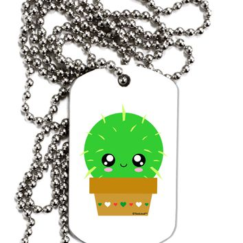 Cute Cactus Design Adult Dog Tag Chain Necklace by TooLoud