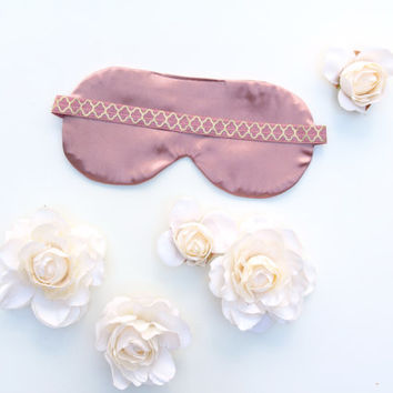 Rose and Gold Satin Sleep Mask, Pink Sleep Mask, Satin Sleep Mask