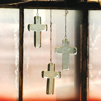 (Set of 4) Recycled Glass Cross Christmas Ornament/Suncatcher