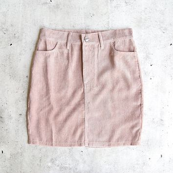 motel rocks - broom corduroy skirt - baby pink