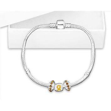 Chunky Charm Gold Ribbon Bracelet for Childhood Cancer