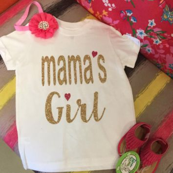 Gold Glitter Mama's Girl Onesuit/tee