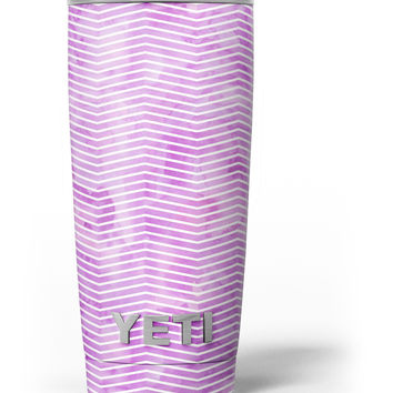 Clouded Purple Grunge Over White Chevron Yeti Rambler Skin Kit