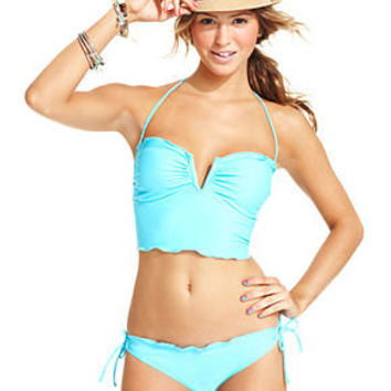 California Waves Swimsuit, Halter Tankini Top & Side-Tie Brief Bottom - Womens Junior Swimwear - Macy's