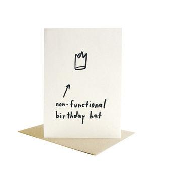 non functional birthday hat / letterpress card