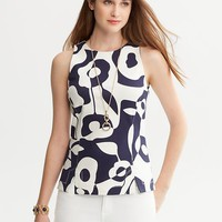 Banana Republic Bold Print Ponte Shell Size 0 Petite - Fall navy