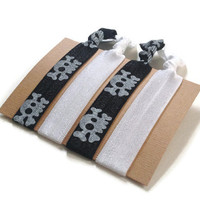 Elastic Hair Ties Black and White Skulls Yoga Hair Bands