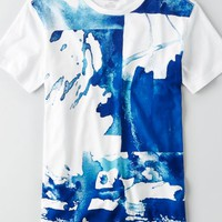 AEO Men's Abstract Graphic T-shirt (Gravity Blue)