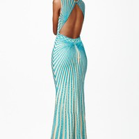 Jovani JVN26843 Dress Tulle Stripe Sleeveless Jewel Neck Fit-and-Flare