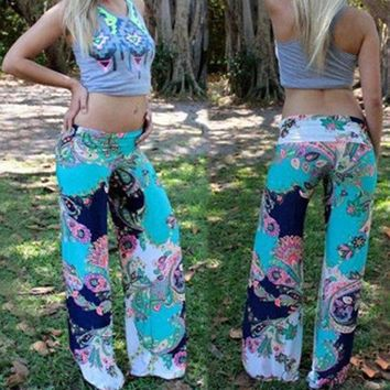Vertvie Vintage Floral Print Women Pants 2018 Wide Leg Pants Loose Straight Trousers Plus Size Yoga Pant Female Pilates Leggings