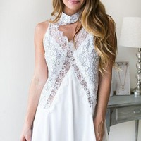 Silhouette Choker Neck Lace Dress - White